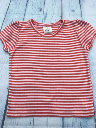 Mini Boden red and white striped pointelle tshirt age 6-7